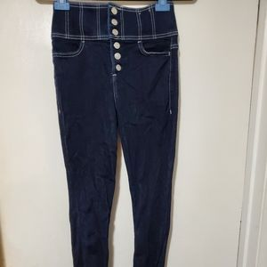 Ankle super high rise button fly jegging